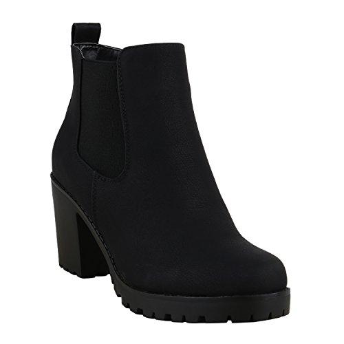 Damen Stiefeletten Blockabsatz Chelsea Boots Profilsohle Schwarz Schwarz Glatt