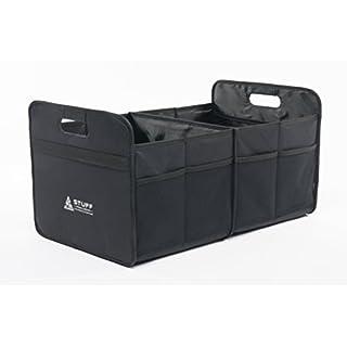 stuff from above Kofferraumtasche schwarz, groß, aus Polyester (57x35x30cm) - Carorganizer mit Klett - Zubehör für Kofferraum Falttasche Einkaufstasche Faltbox Ordnungssystem Tragetasche