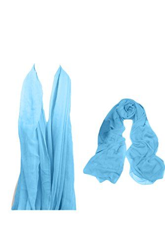 Sunvary neu billig Chiffon Stola Schal zu Abendkleid,Masse ca 45x190,in verschiednen Farben Blau