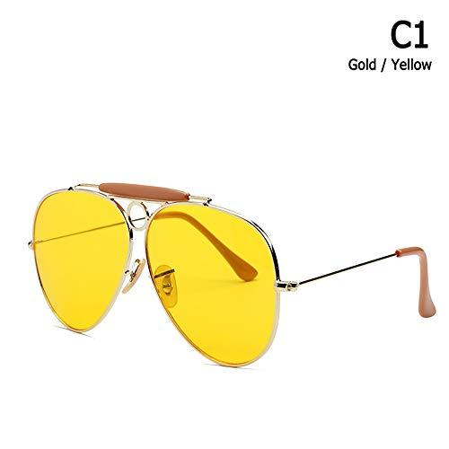 ZHOUYF Sonnenbrille Fahrerbrille Mode Shooter Stil Vintage Aviation Sonnenbrille Metall Kreis Marke Design Sonnenbrille Oculos De Sol Mit Kapuze, A