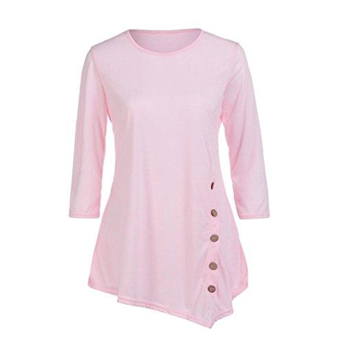 HUHU833 Blouse Femmes grande taille manches longues lâche bouton garniture chemisier couleur unie col rond tunique T-shirt Rose