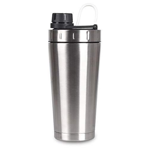 NUOSEM 2 in 1 Thermobecher & Eiweißshaker Auslaufsicher 700ml, Protein Shaker | Trinkflasche | Sportflasche | Wasserflasche Doppelwand Edelstahl Isolierbecher BPA-Frei - Alkalische Wasser-tropfen