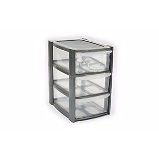 3 Drawer Mini Small Plastic Storage Tower Silver