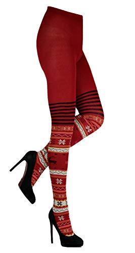 CRÖNERT Damen Strumpfhose Strickstrumpfhose Design Hirsche 72230 rot (38/40)