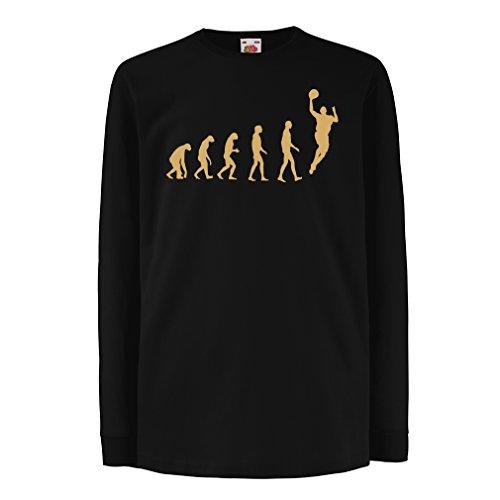Kinder-T-Shirt mit Langen Ärmeln Evolution Basketball - Street Basket, ich Liebe Dieses Spiel, tolles Fan-Geschenk (3-4 Years Schwarz Gold)