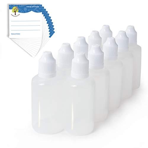 ProfessionalTree 10x50 ml Tropf-Flaschen mit Etiketten - Leere Liquid-Flaschen zur sauberen Flüssigkeiten-Dosierung und -Aufbewahrung - Schraub-Verschluss mit Kindersicherung