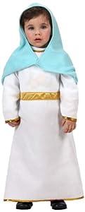 Atosa-12772 Atosa-12772-Disfraz De Virgen niña bebé-talla Navidad, color blanco, 0 a 6 meses (12772)