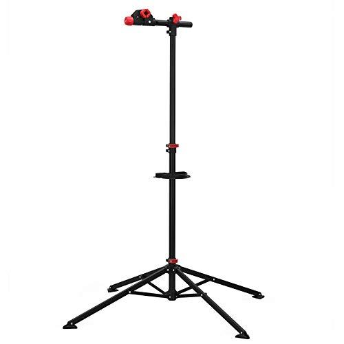 SONGMICS Fahrradmontageständer Reparaturständer mit Werkzeugablage, klappbar höhenverstellbar, 360°drehbare Fahrradklemme, leichtgewichtig tragbar SBR02B
