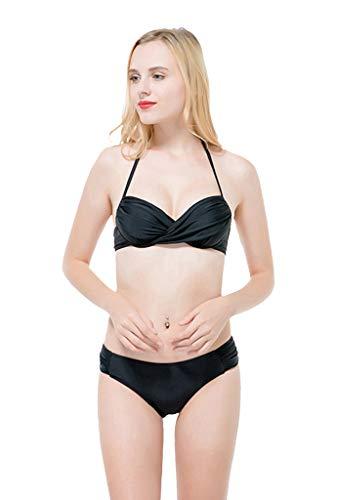 BOLANY Women - Schwarzer Geraffter Neckholder Krawatten Rückenfreier Bikini Zweiteiliger Badeanzug - Neckholder Geraffte Krawatte
