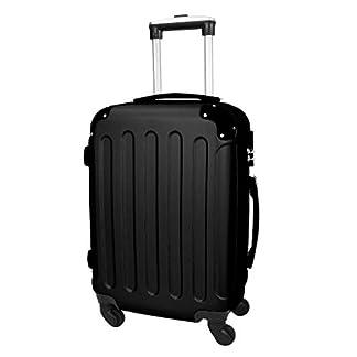 Todeco – Maleta De Mano, Equipaje de Cabina – Tamaño (ruedas incluidas): 56 x 38 x 22 cm – Tamaño interno: 49 x 35 x 21 cm – Esquinas protegidas, Llevar-en 51 cm, Negro, ABS