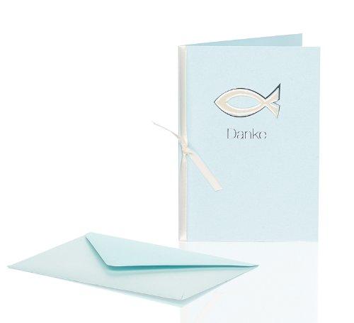 Rössler Papier Dankeskarten für Kommunion / Konfirmation B6 (3 Stück inkl. Einlegeblatt und Umschlag, 12,5 x 17,6 cm) hellblau mit Fisch-Motiv, Metallic-Oberfläche