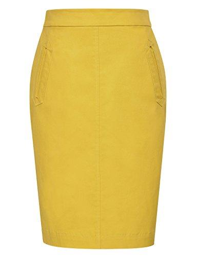 bleistiftrock mit schlitz gelb büro rock damen eng party rock M KK860-2 (Pencil-skirt Reißverschluss Vorne)