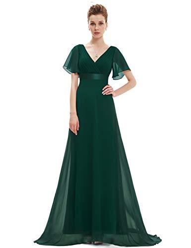 Ever Pretty Damen Abendkleid Frau A-Linie Festliches Kleid V Ausschnitt Hochzeit lang Dunkelgrün 38 -