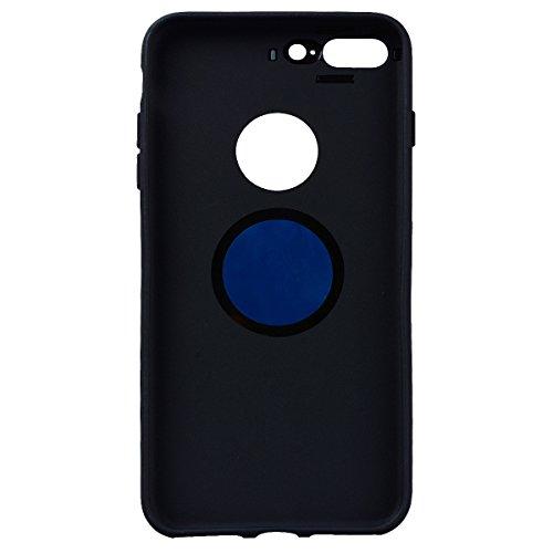 SMART LEGEND iPhone 7 Handyhülle mit Magnetische Auto Mount Weiche Silikon Hülle Eingebaute Magnet für KFZ Halter Autohaltung Schutzhülle Matte Bumper Crystal Kirstall Clear Etui Ultra Slim Design Gla Schwarz