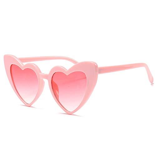 LXXSSRA Sonnenbrille Love Heart Sonnenbrille Damen Luxusmarke Damen Brille Herzform Sonnenbrille Girlsuv400 Rot Schwarz