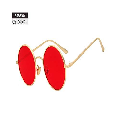 FGRYGF-eyewear2 Sport-Sonnenbrillen, Vintage Sonnenbrillen, Round Sunglasses Women Retro Vintage Silver Gold Metal Frame Clear Yellow Red Circular Sun Glasses For Men UV400 Gafas 05