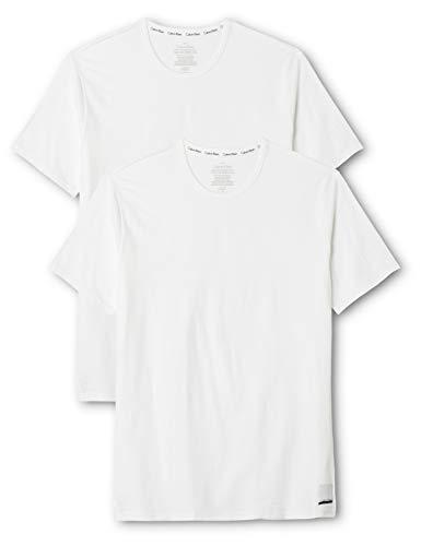 Calvin Klein Herren 2p S/s Crew Neck T SLI T-Shirt, Weiß White, Large (2erPack -