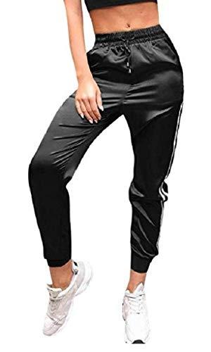 EVRYLON Frau Fitness Hosen schwarz Satin glänzend Anzug größe XL Fitness Jogging
