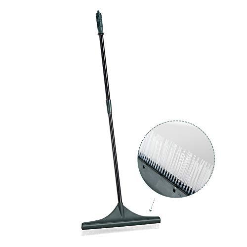 ORIENTOOLS - Rastrillo de césped Artificial con Cepillo PA y Mango de Acero Ajustable de 80 a 130 cm