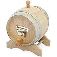Barril de roble, barril de trago, barril para fiesta, barril de vino, barril con grabado personalizado y grifo de latón, disponible en diferentes tamaños, marrón, 2l