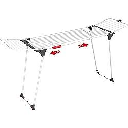 Vileda séchoir Infinity - séchoir table extensible XL - spécial draps / nappes / grandes pièces - jusqu'à 27m de capacité de séchage + portes-chaussettes + 2 roulettes - ref 157231