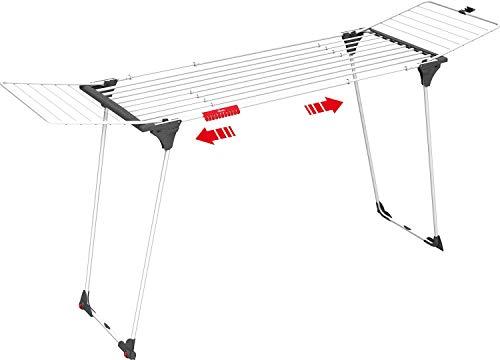Vileda Infinity - Tendedero Extensible de acero, espacio total de tendido de 27 metros, soporte para artículos pequeños, dimensiones abierto 186 - 257 x 57 x 100 cm, color blanco