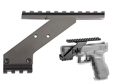 HWZ Tactical Precision Machined Aluminum (Not Plastic) Weaver Picatinny Top & Bottom Pistol Handgun Scope Mount for Sights,Lights & Accessories Fits Glock Pistols with Front Accessories
