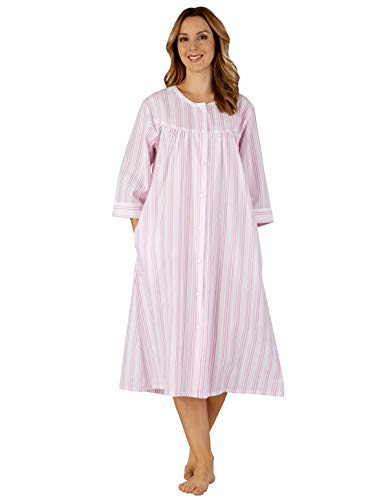 Slenderella HC3225 Women's Woven Pink Striped Robe Dressing Gown 48/50 Trim Dressing Gown