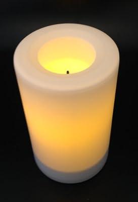 Flammenlose LED Kerze WEISS, Höhe 12.7cm, Durchmesser 7.5cm NEU (aus Kunststoff) für draußen, inkl. integrierte Zeitschaltuhr, Batteriebetriebene Kerze, Elektrische Kerze für draussen, Tischkerze, von Inglow Flameless Candles - Lampenhans.de