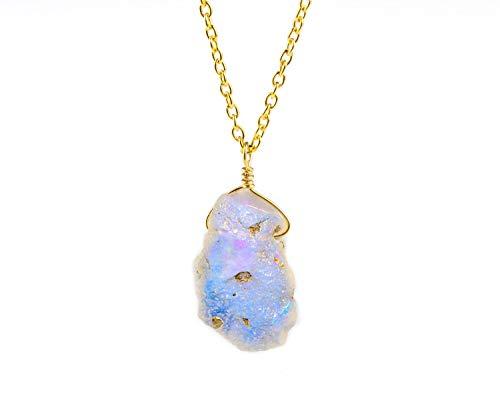 Collar con colgante de ópalo etíope natural hecho a mano con cristal de piedras preciosas delicadas y cadena de plata de ley 925 con relleno de oro de 14 quilates