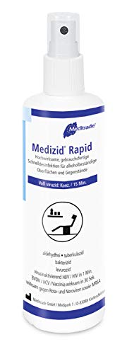 Meditrade 01002D Medizid Rapid Flächenschnelldesinfektion, Voll Viruzid, 250 mL Flasche