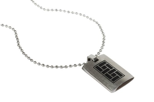 Gift Idea, Mens Solid Tablet style Pendant jewellery in pure Stainless Steel. Beautiful Solid Pendant with graphic pattern in Black; Plain to engrave on flip if you wish.