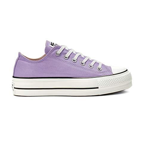 Converse Chuck Taylor All Star Lift Damen Turnschuhe Canvas Sneaker Sportschuhe mit Cultz Aufkleber Violett 38