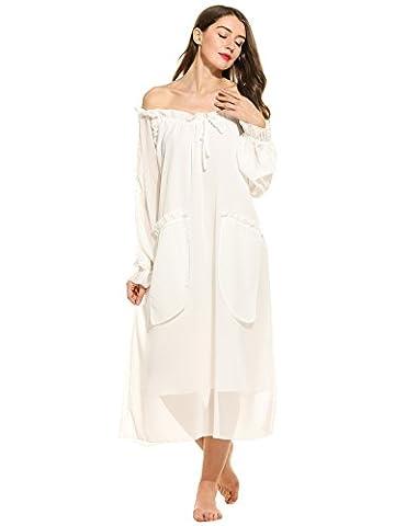 Ekouaer Women's Sheer Chiffon Victorian Vintage Off the Shoulder Ruffled Long Nightgown (White, XL)