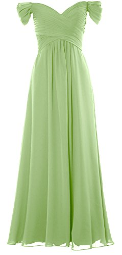 MACloth Women Off the Shoulder Long Prom Dress Chiffon Wedding Party Formal Gown Pistachio