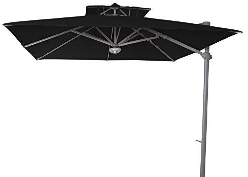 PEGANE Parasol décentré Laterna Noir anti-UV inclinable carré, 300 x 300 cm