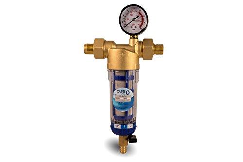 """PureOne PPF-60M Longlife Vorfilter 1\"""" (Manometer) Feinheit 40 µm Als Waschmaschinenfilter mit Polyphosphatkugeln, Außenfilter für Wasserpumpe od. Tauchpumpe. Dauer Filtereinsatz, Siphon Auslass"""