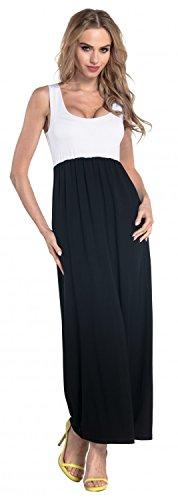 Glamour Empire. Damen Maxikleid Empire-Taille ohne Ärmeln U-Ausschnitt. 292 Weiß & Schwarz