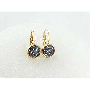 Cabochon Ohrringe Ohrhänger Gold Schwarz Weiss Glitzer minimalistisch rund 8mm Edelstahl,Harz Ohrringe,Resin Ohrringe,Ohrringe Hochzeit