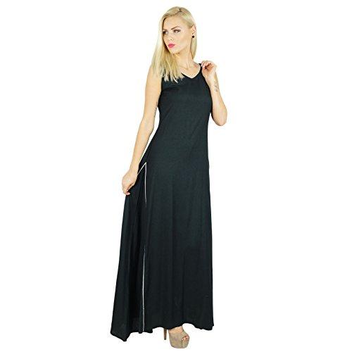 Bimba femmes robe longue Rayon Noir Maxi robe bohème Vêtements décontractés Noir