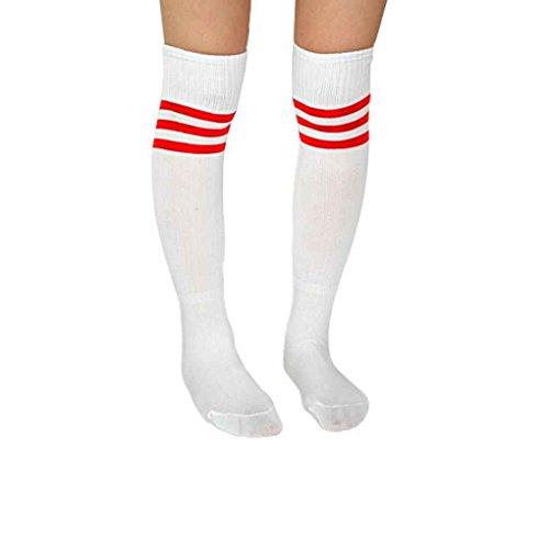 Mens Womens Soft Socken Fußball Baseball Fußball über Knie Bobury (Weiß Soft-baseball)