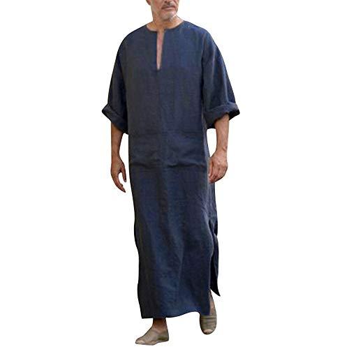 Mens Ethnische Roben lose Feste Langarm lose Vintage Kleid Kaftan NY/XL -