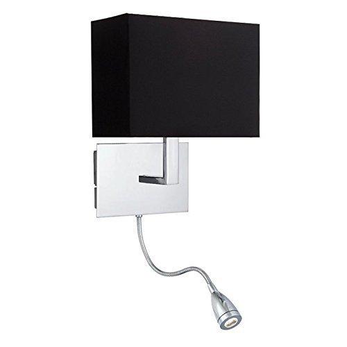 ONEPRE Art D¨¦co Wandleuchte aus verchromtem mit 1W LED Leseleuchte einem Flexarm flexibel , Einstellbare Wandlampe mit schwarz Stoff Lampenschirm Schwenkarm , 2 Schalter