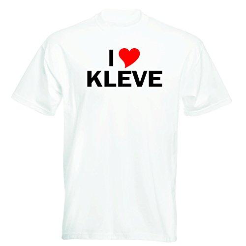 T-Shirt mit Städtenamen - i Love Kleve - Herren - unisex Weiß
