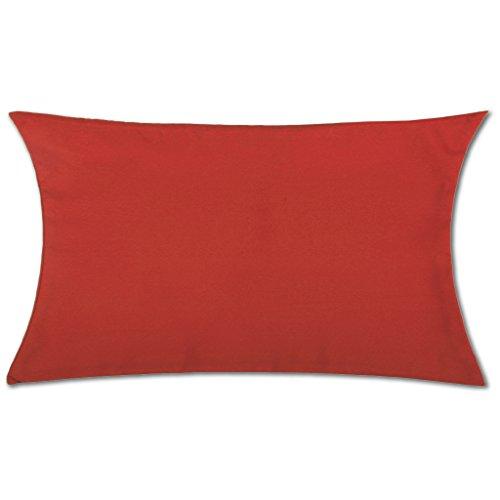 Kissenhülle mit und ohne Füllung in über 100 vers. Größen und Farben, Kissenbezug Dekokissen, Serie: Ellen, Auswahl: 30x50cm mit Füllung rot - kaminrot