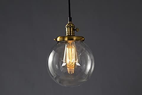 Hanging Lighting Fixture by Feven - Round Glass Shades- Clear