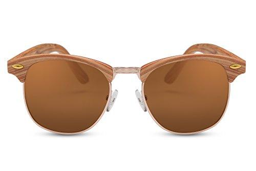 e5a5c5f1950e9d Cheapass Sonnenbrille Clubmaster Braun Holz-Optik UV400 Gradient Linsen  Retro Plastik Damen Herren