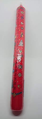 EWA Adventskalenderkerze rot mit Abziehbild schwarze Zahlen '24 Tage Kerze' Weihnachtskerze