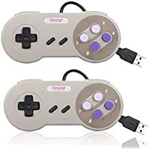 denmer 2Pack SNES Retro USB Super Famicom Controller Gamepad Joystick, Classic Controller Joypad Gamestick für Windows PC Linux Raspberry Pi 3