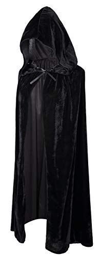 Crizcape Kinder Kostüm-Umhang aus Samt, Cape, Umhang mit Kapuze, ideal für Halloween-Partys, Alter: 2-18 Jahre - Schwarz - L/Alter 8-18 (Schwarzes Cape Kapuze)
